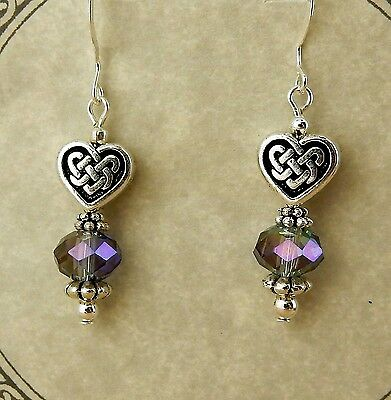 Antique silver Celtic Knot Heart beaded earrings with purple crystals