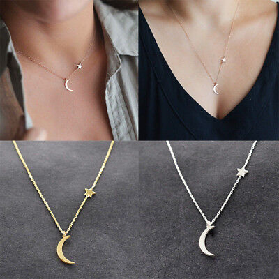 1× Women Simple Moon Star Pendant Choker Necklace Gold Silver Long Chain Jewelry