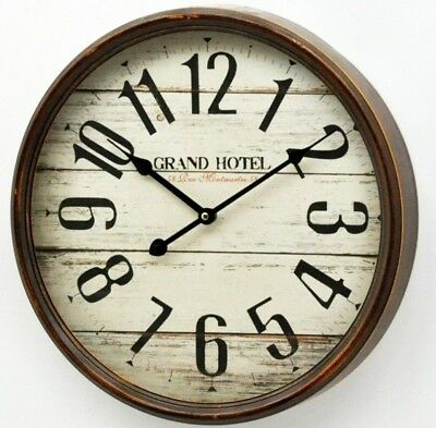 Rustic Antique Wall Clock Grand Hotel Shabby Chic Wooden Home Decor Large