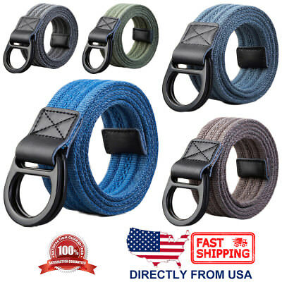 Men's Fashion Canvas Belt, Leather Tip, Double Ring Metal Buckle