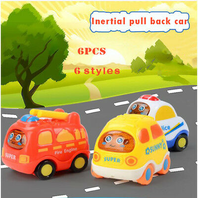 6PCS Set Baby Cartoon Toy Cars Inertial Back Helicopter Police Car Taxi Minibus