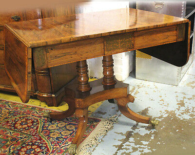 Stunning Regency Rosewood Sofa Table With Brass Inlay