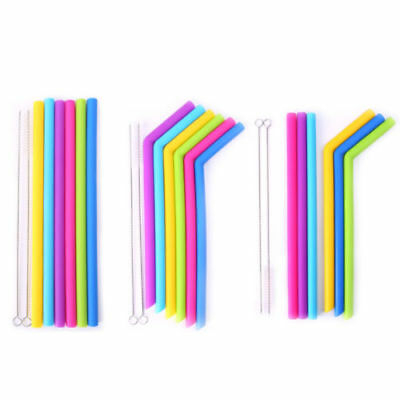 6Pcs Reusable Food Grade Silicone Drinking Straight Straws with Cleaning Brushes