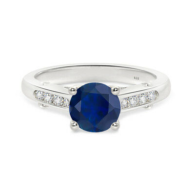 Exquisite Round Blue Sapphire 14K White Gold Fn Womens Solitaire Engagement Ring