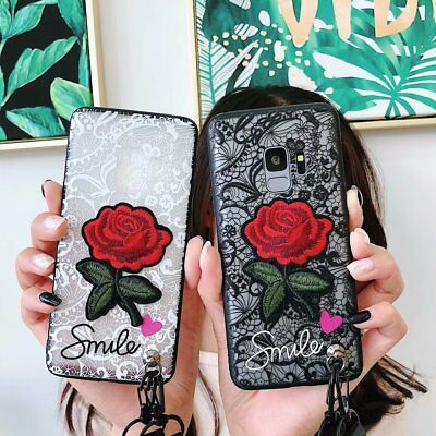 Girls Rose Lace Flower Phone Case for Samsung S9 S10 Plus J4 J6 A7 2018 A50 2019