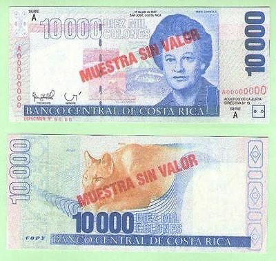 Costa Rica 10 000 colones muestra 1997. UNC - Reproductions