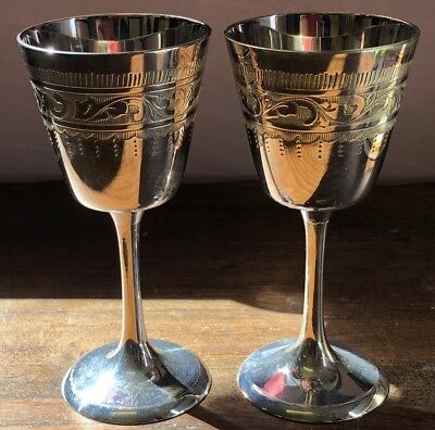 2 Beautiful Vintage Engraved Silver Plated Goblets