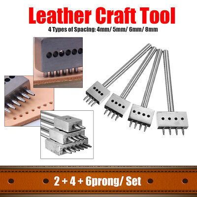 2+4+6 Prong Leather Craft  Round Hole Chisel Punches Stitching Tool 4/5/6/8mm