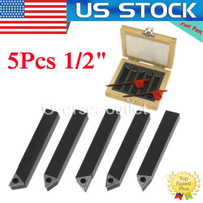 "1/2"" 5 Pc Indexable Carbide Insert Turning Tool Bit Lathe Set C6 Chipbreaker"