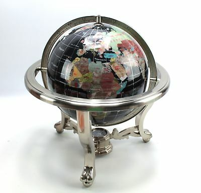 """Gimballed Black Globe with Stone Inlay & Compass Claw Footed Silver tone 13.5""""H"""