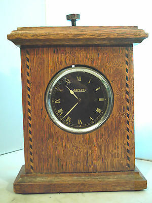Antique Car Clock With Wooden Clock Case Jaeger