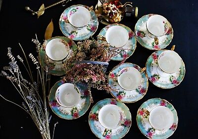 "Tea-set of Japanese brand ""Diamond China"", circa 1950, 9 tea cups and 9 saucers"