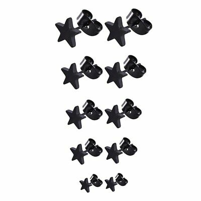5 Pairs Stainless Steel Star Stud Earrings for Men and Women,3 mm to 7 mm D6D7