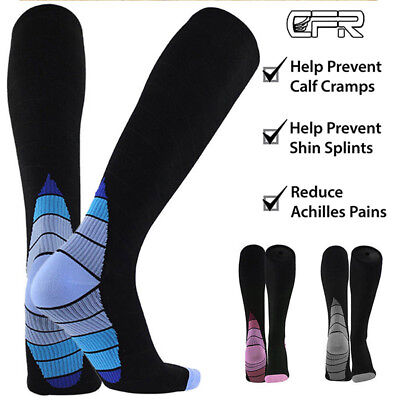 Pairs 30-40 mmhg Knee High Compression Socks Running Sport Long Stcokings Ankle