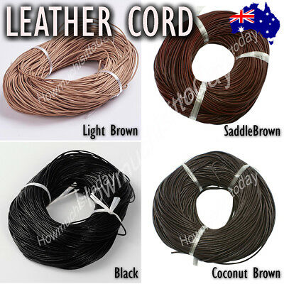 1.5mm Genuine Round Leather Cord Cowhide Hide String Thread Findings Jewellery