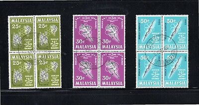 Malaysia 1965 Third South East Asian Games in blocks of 4 SG 28/30 Used