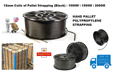 12mm WIDTH BLACK HAND PALLET STRAPPING COILS  REELS - 1000M / 1500M / 2000M