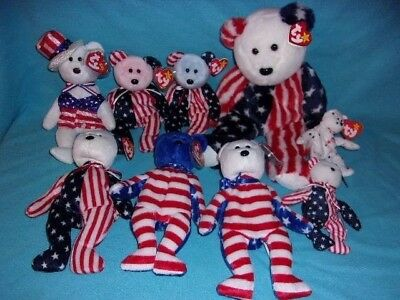 TY beanie babies lot of 9 red white and blue patriotic America