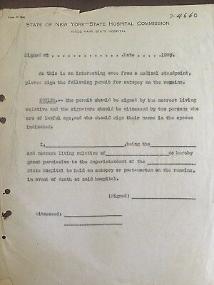 Kings Park State Hospital Medical File Permit for Autopsy