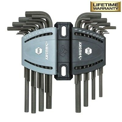 SAE/Metric Long Arm Hex Key Set (26-Piece) Allen Wrench w/ Case Tool By Husky