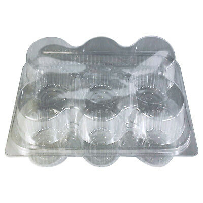 PREMIUM Plastic Cupcake Boxes for 6 Cup Cakes Hinged Lids Cake Trays Containers