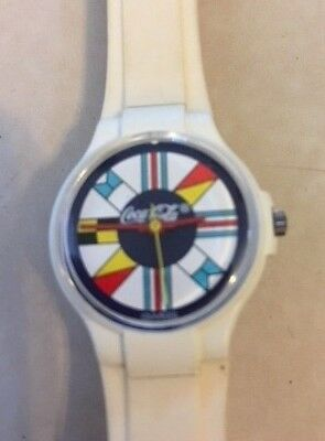 vintage Coca Cola Swatch 1980's Watch with Boating Flags theme  ivory band