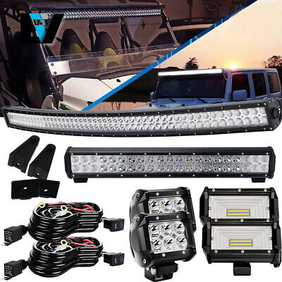 Curved 52inch + 20'' + 4'' Combo Work LED Light Bar Offroad Jeep Ford SUV ATV
