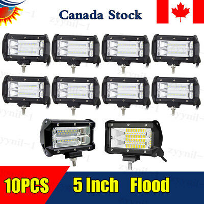 10X72W Flood LED Work Light Bar 5''inch for Jeep SUV Truck Driving Fog Lamp 7D