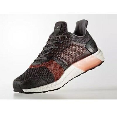 the best attitude 3953e 9ed4f Mens Adidas Ultra Boost ST Running Shoes S80616 Core Black Red Size 7
