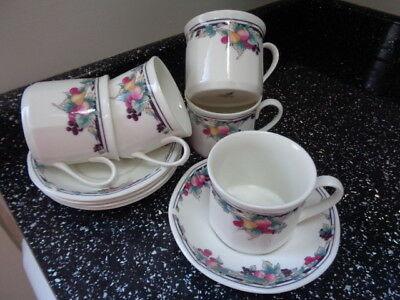 Royal Doulton Autumn`s Glory Cups And Saucers X 5