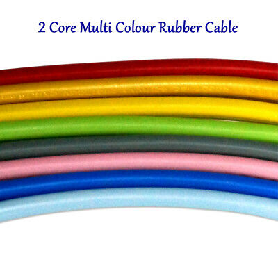 2 Core 0.75mm PVC Flexible Cable 1m Flat Vintage Electrical Rubber Colour Wires