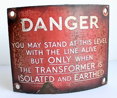 Enamel - Danger Sign - Vintage - Electricity Railway - telegraph pole - CURVED