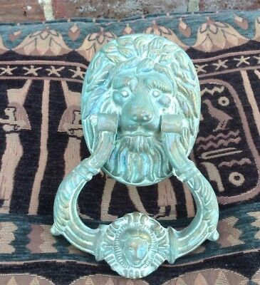 Antique grand brass door knocker lion head.