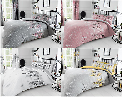 Green LEAF FEATHER Design White Pink Grey Printed Duvet Quilt Covers Bedding Set