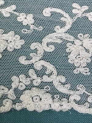 """Antique Tambour Net Lace with Silk Embroidery and Scalloped Edge 5"""" x 36"""""""