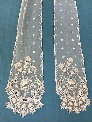 Antique Embroidered Lace Net Lace Tie or Scarf Scalloped Edges Open Work Flowers