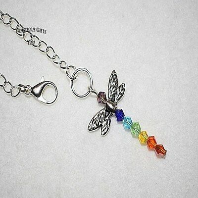 Colourful Dragonfly Rainbow Crystal Sun Catcher Rear View Car Mirror Charm Gift