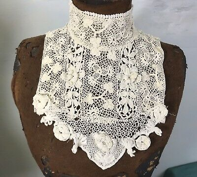 Antique Irish Lace Collar White Crochet with Attached Yoke Raised Flowers Buds