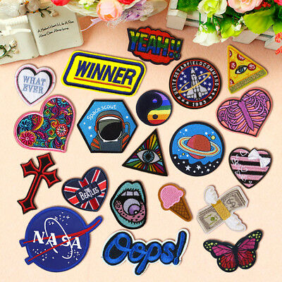 Embroidered Rainbow Space Cross Sew On Iron On Patch Badge Fabric Applique Craft