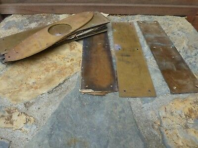 "10 Vintage Brass Push Plates 12"" x 3"" & One Oval Door Plate"