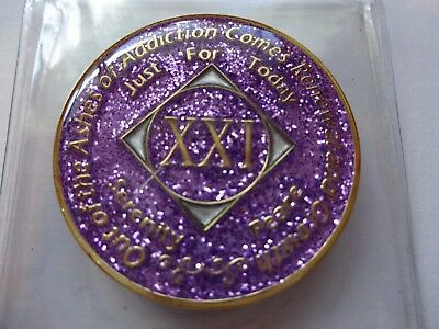 NA Purple Glitter Coin 16 Year Tri-Plate Narcotics Anonymous Medallion CaseStand