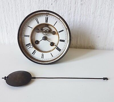 Antique French Brass Bulk Head Clock Movement S. Marti Medaille Bronze