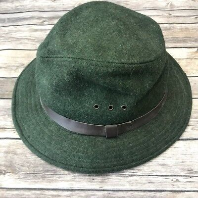 ec91a624757bc C.C. Filson Vtg Virgin Wool Packer Fedora Indiana Jones Style Forest Green  Large