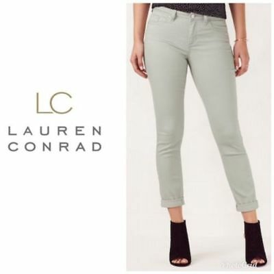 123abc40a9302 Womens LC Lauren Conrad Gray Ankle Skinny Jeans Mid Rise Cuffed Hem Sz 8