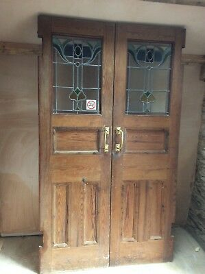 Pitch Pine Church Stained Glass Doors Pair complete with frame