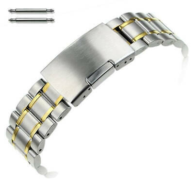 Two Tone Gold Steel Metal Bracelet Replacement Watch Band Strap Push Button 5019