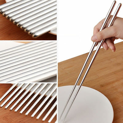 STAINLESS STEEL METAL TWIST TRADITIONAL CHINESECHOPSTICKS Japanese UK Stock
