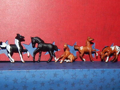 Breyer Mini Whinnie  SET OF 5 FOALS ~ 2 PRANCING~1 ROMPING~ 1 SITTING ~1 GRAZING