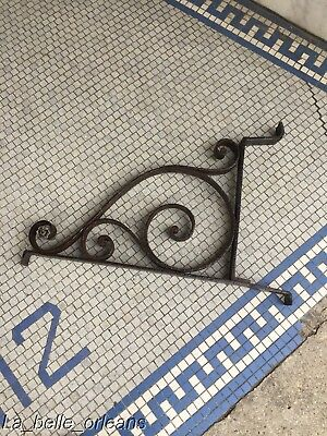 1890's WROUGHT IRON STREET SIGN BRACKET WITH DECORATION / DOUBLE SIDED. L@@k!