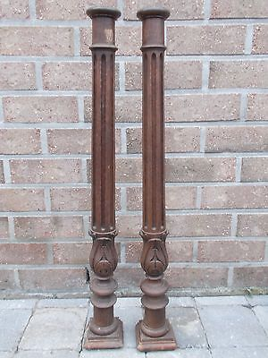 "Pair of 27.95"" Antique  Wood Baluster Posts, Pillars or Columns"